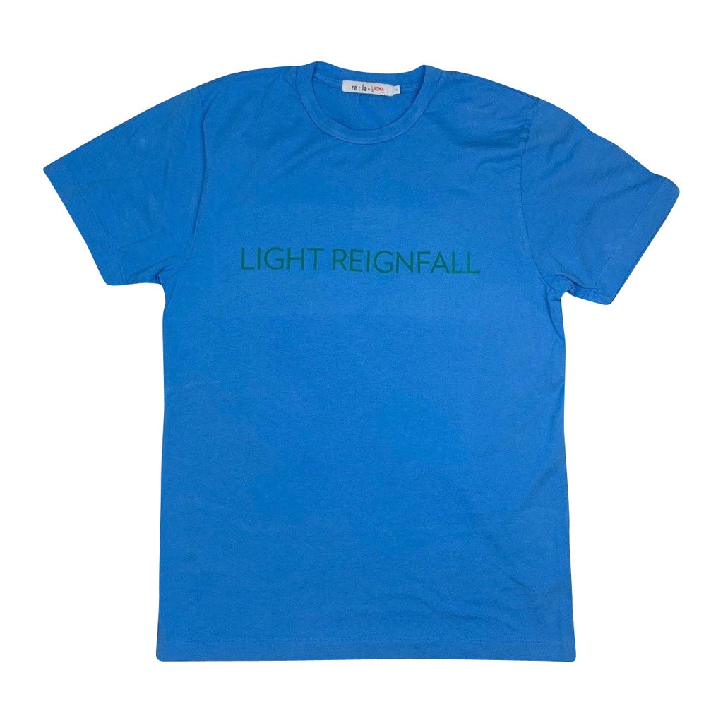 James Turrell Light Reignfall Men's T-Shirt in Hawaiian Blue by re:la for Wear LACMA