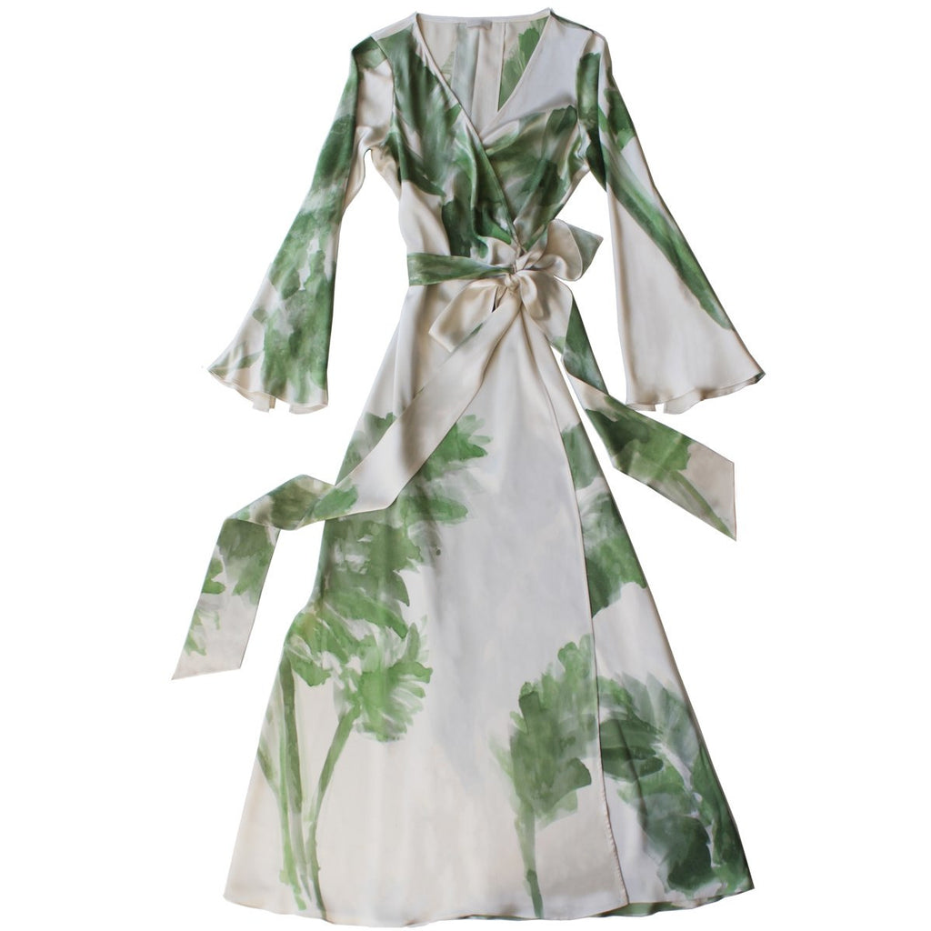LFrank Iris Wrap Dressing Gown with Banana Leaf Design