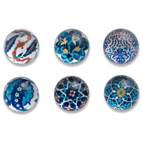 Islamic Tiles Domed Magnet Set