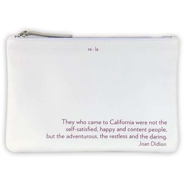 re:la Flat Leather Pouch in White (Joan Didion)