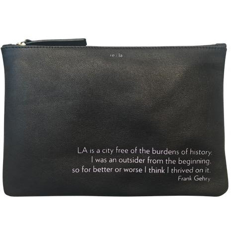 re:la Flat Leather Pouch Black Frank Gehry