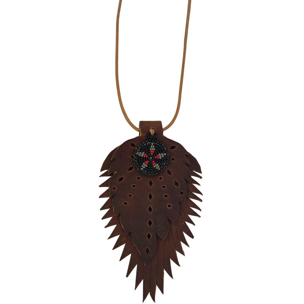 RTH Leather Feather Necklace with Black and Grey Beaded Medallion