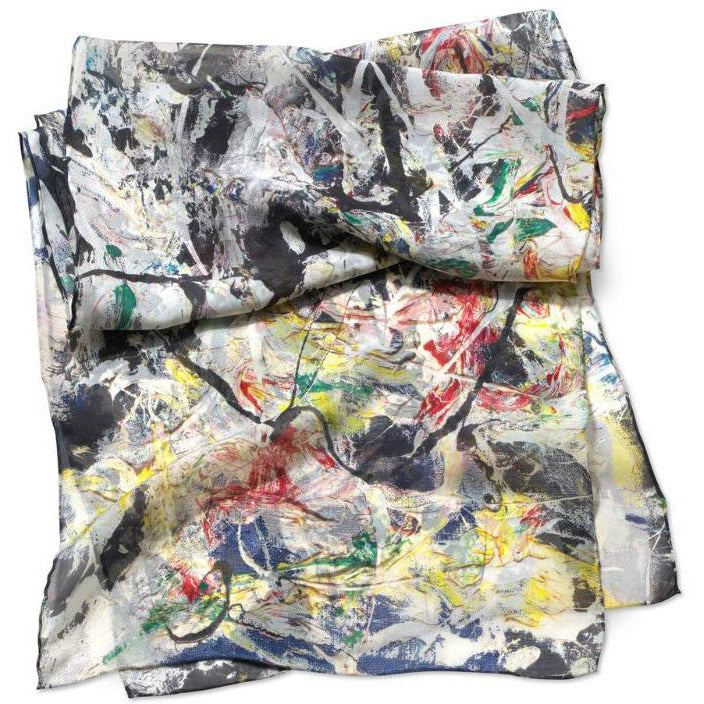 Jackson Pollock White Light Silk Scarf