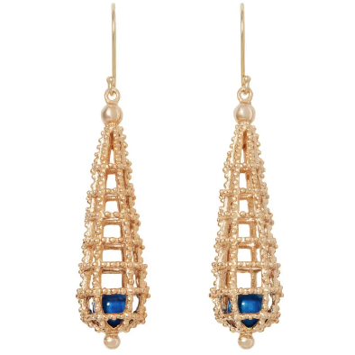 Erté Deco Caged Bead Earrings