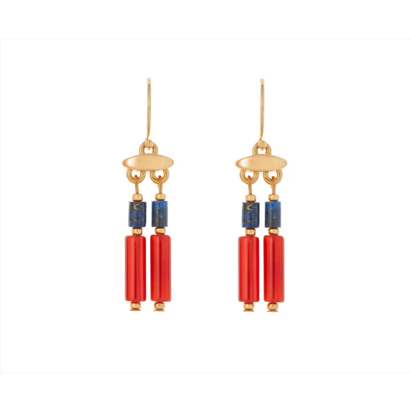 Egyptian Carnelian and Lapis Drop Earrings