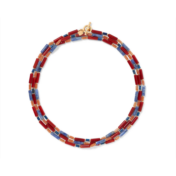 Egyptian Carnelian and Lapis Bead Necklace