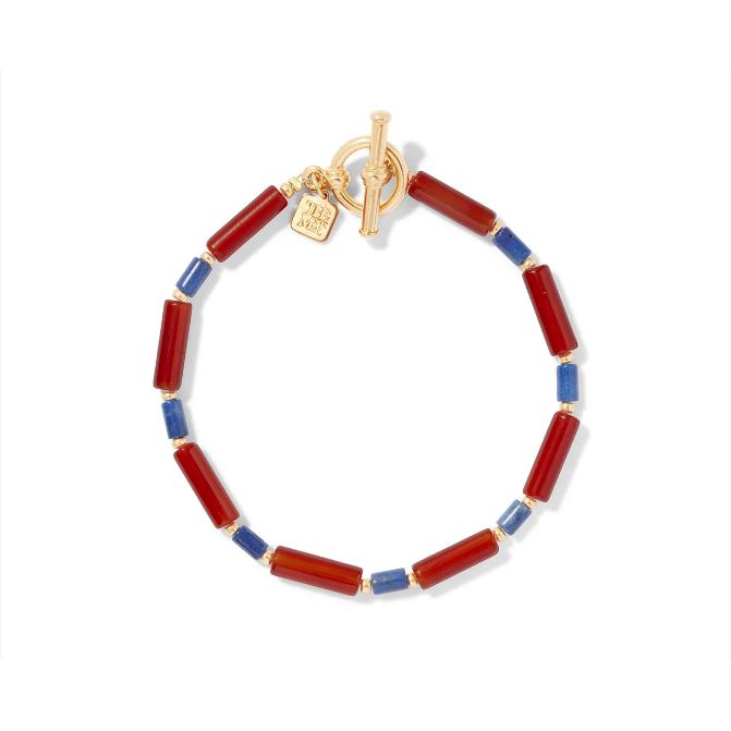 Egyptian Carnelian and Lapis Bead Bracelet