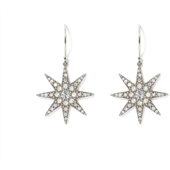 Ottoman Star Antiqued Silver Drop Earrings