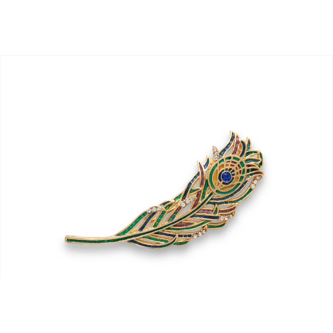 Jeweled Peacock Feather Brooch