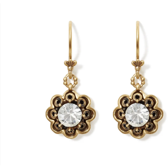 Crystal Rosette Drop Earrings