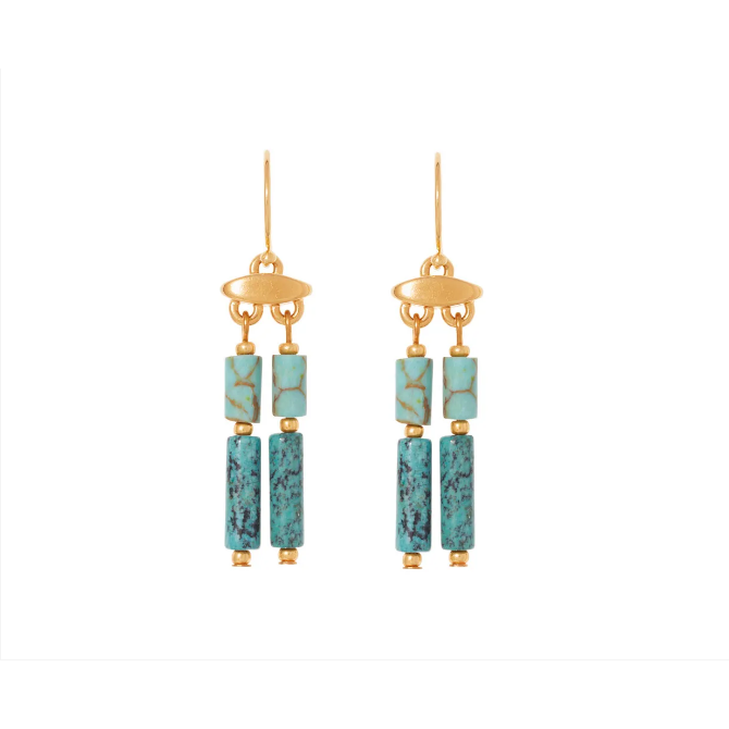 Egyptian Turquoise and Green Jasper Drop Earrings