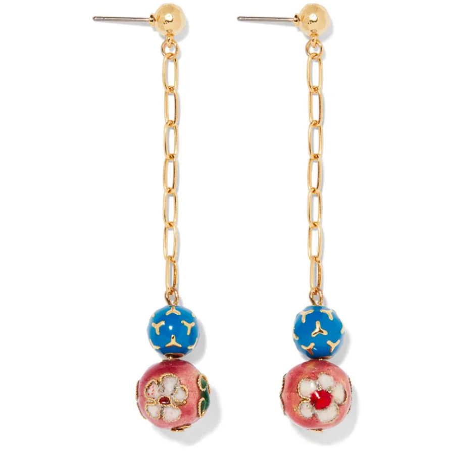 Cloisonné Bead Chain Drop Earrings