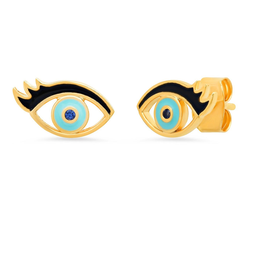 Evil Eye with Lashes Enamel Stud Earrings
