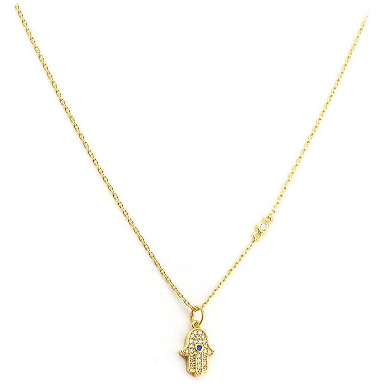 Mini Hamsa Necklace in Gold