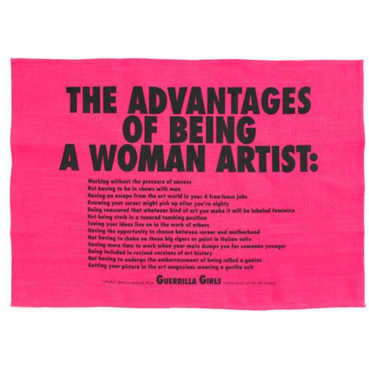 Guerilla Girls Advantages of Being a Woman Artist Tea Towel