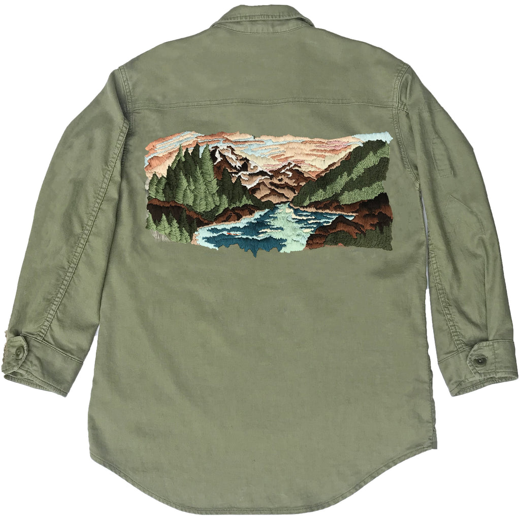 THE GREAT. Embroidered Army Jacket (Teal Variation)