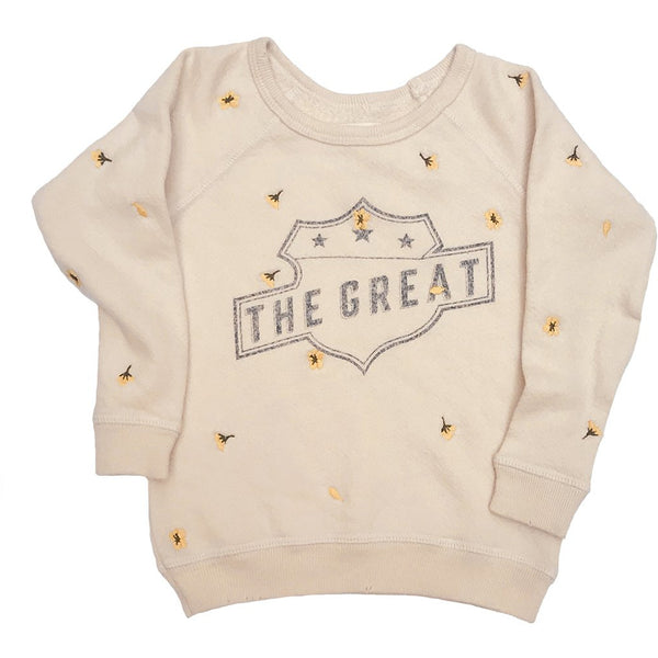 THE GREAT. Child's Washed White Sweatshirt with Embroidered Poppies