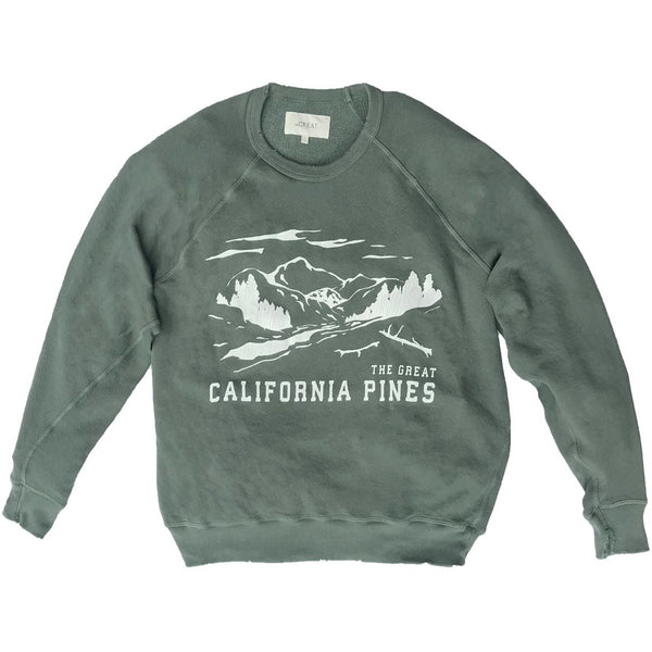 THE GREAT. California Pines Sweatshirt in Moss Army
