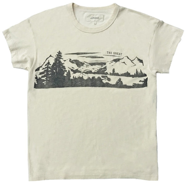 THE GREAT. Lake Tahoe T-shirt in Washed White
