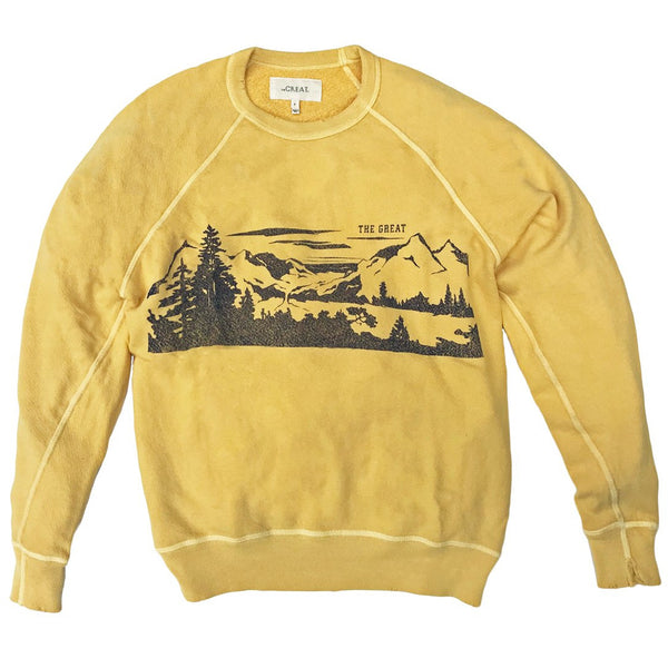 THE GREAT. Lake Tahoe College Sweatshirt in Golden