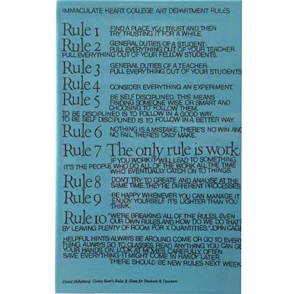 "Corita Kent ""Art Department Rules"" Tile Turquoise"