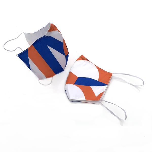 Jim Isermann Set of Two Orange + Blue Masks (over the head)
