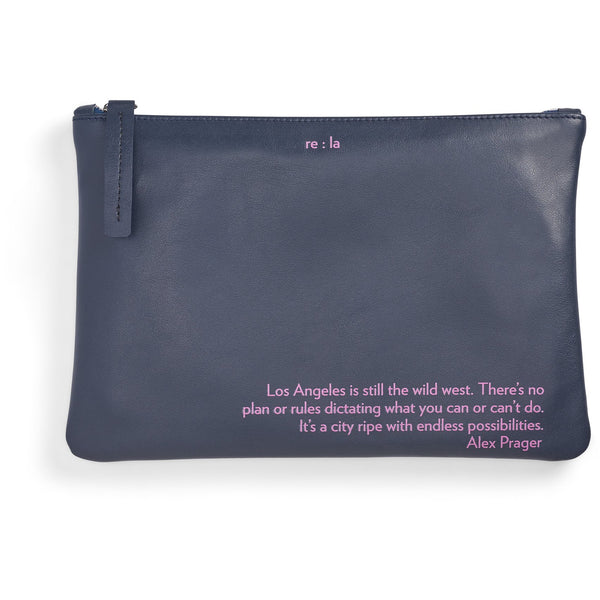 re:la Flat Leather Pouch in Navy (Alex Prager)