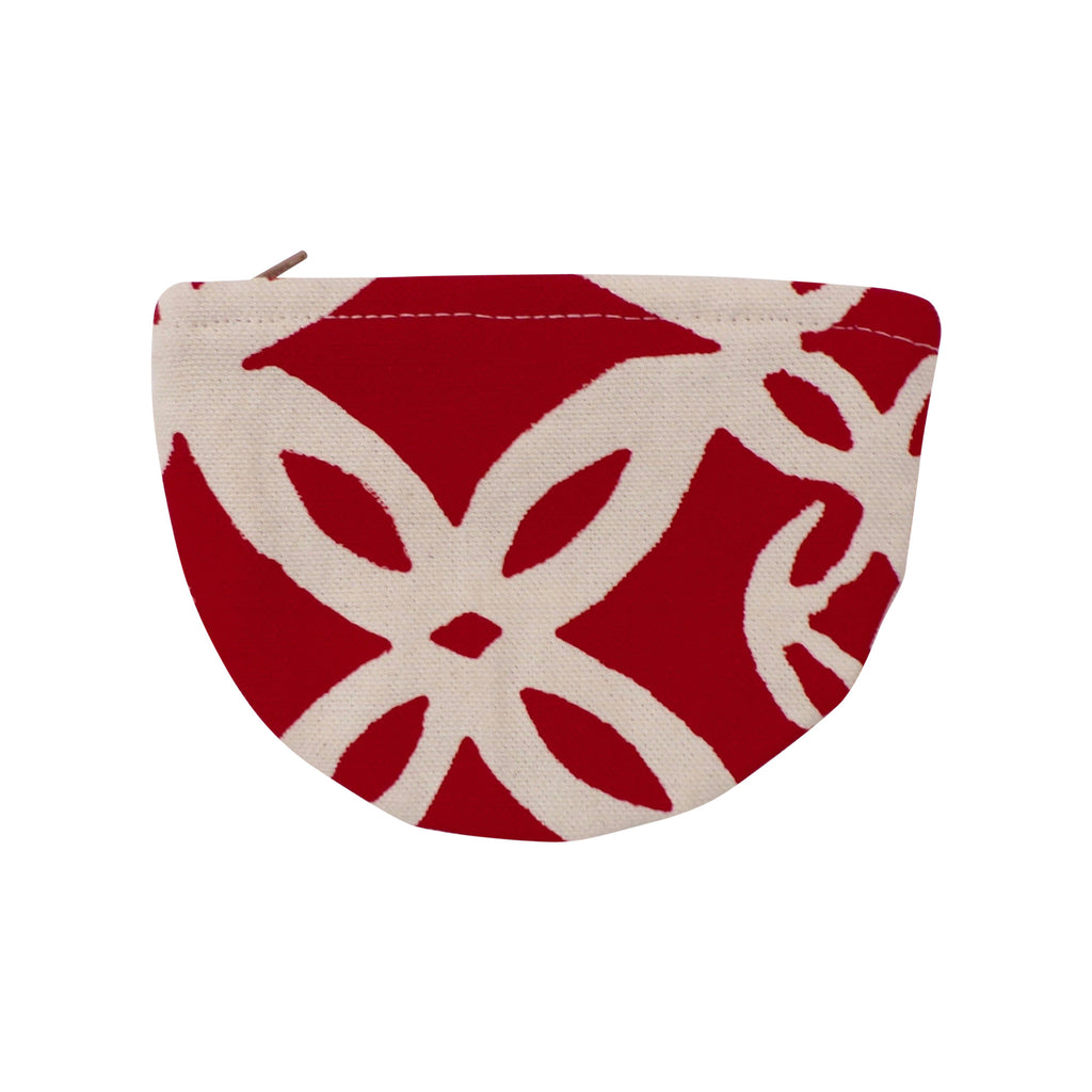 Round Canvas Coin Purse Red