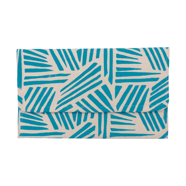 Medium Canvas Clutch Cyan