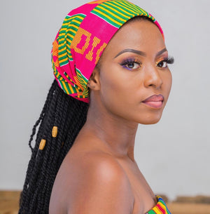 Pink Kente Headwrap