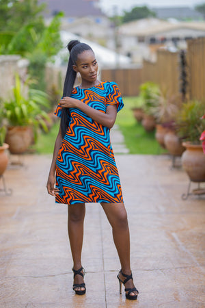 Blue Shift African Print Dress
