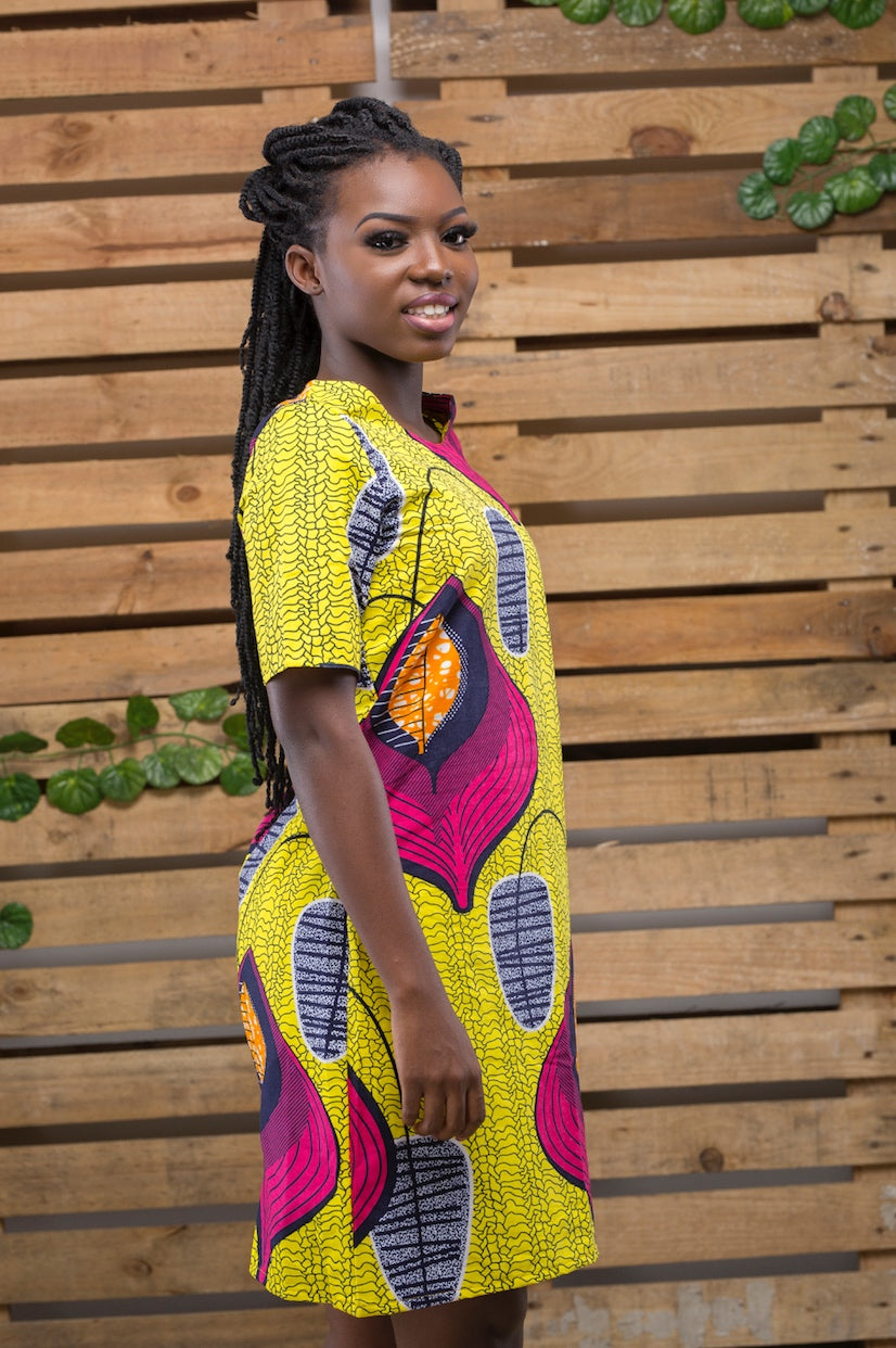 Yellow Shift African Print Dress