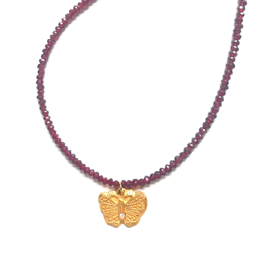 One of a Kind Garnet Bead Necklace with Gold Butterfly Charm 20051 - MAS Designs