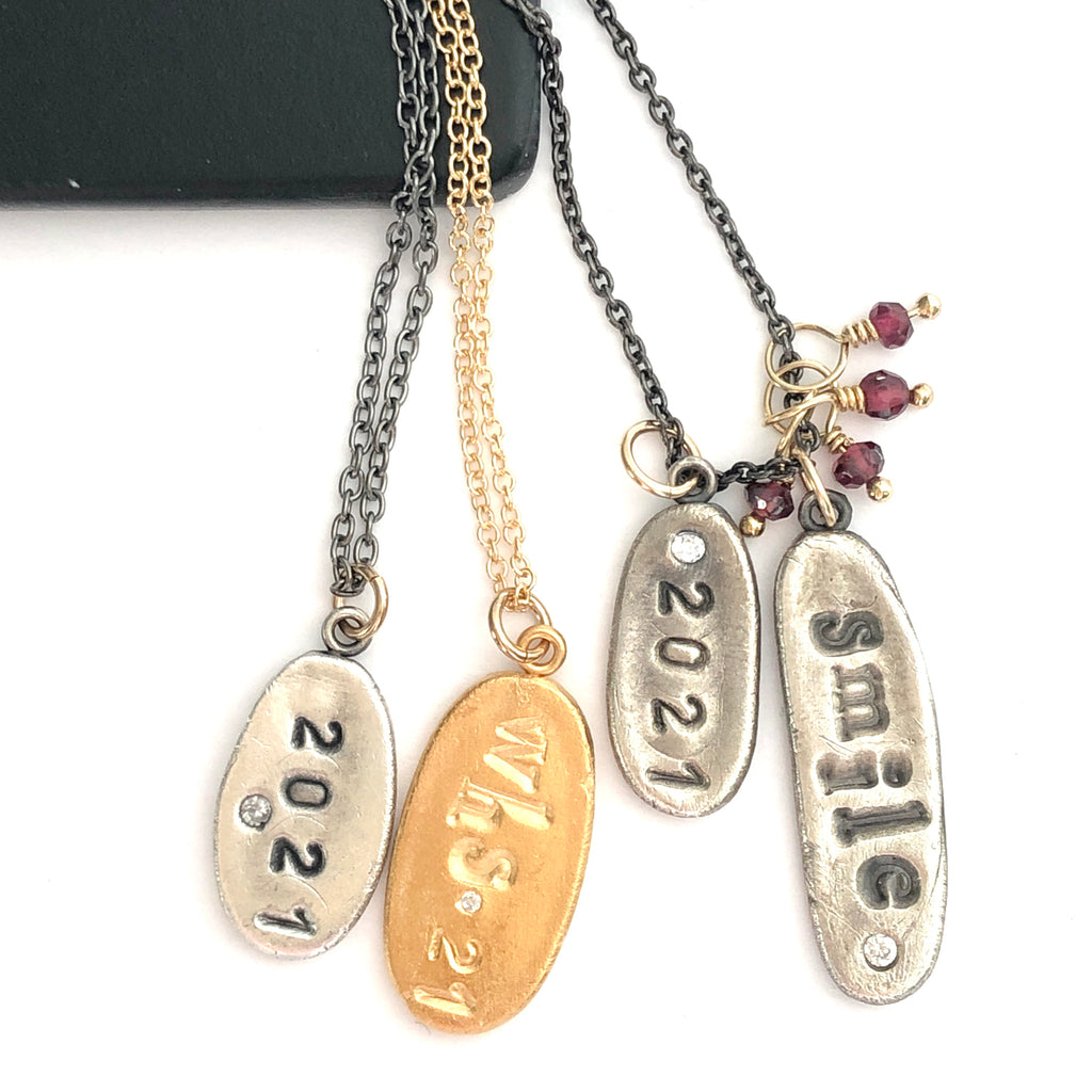 Custom 2021 Graduate Charm Necklace Silver - MAS Designs