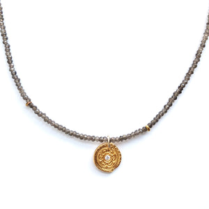 One-of-a-Kind-Light-Brown-Bead-Chain-Circles-of-Life-Charm-Necklace_Gold_MAS-Designs-Jewelry
