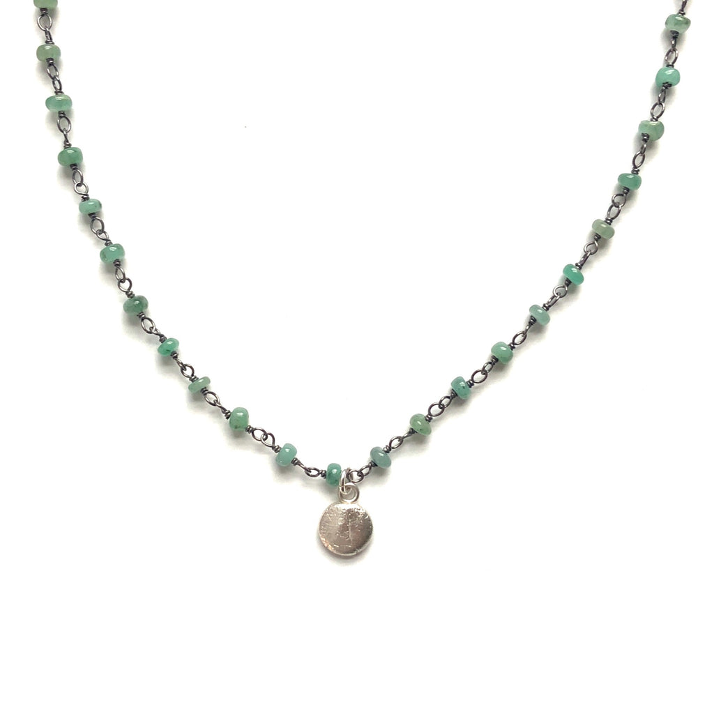 Emerald Green Chain Necklace with Silver Little Lights Charm - MAS Designs