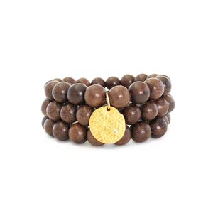 Sandalwood Wood Beaded Bracelets, Set of 3 with Charm Gold