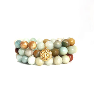 Amazonite Beaded Bracelets, Set of 3 Charm Gold - MAS Designs