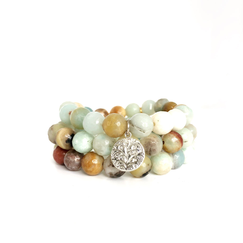 Amazonite Beaded Bracelets, Set of 3 Charm Silver - MAS Designs