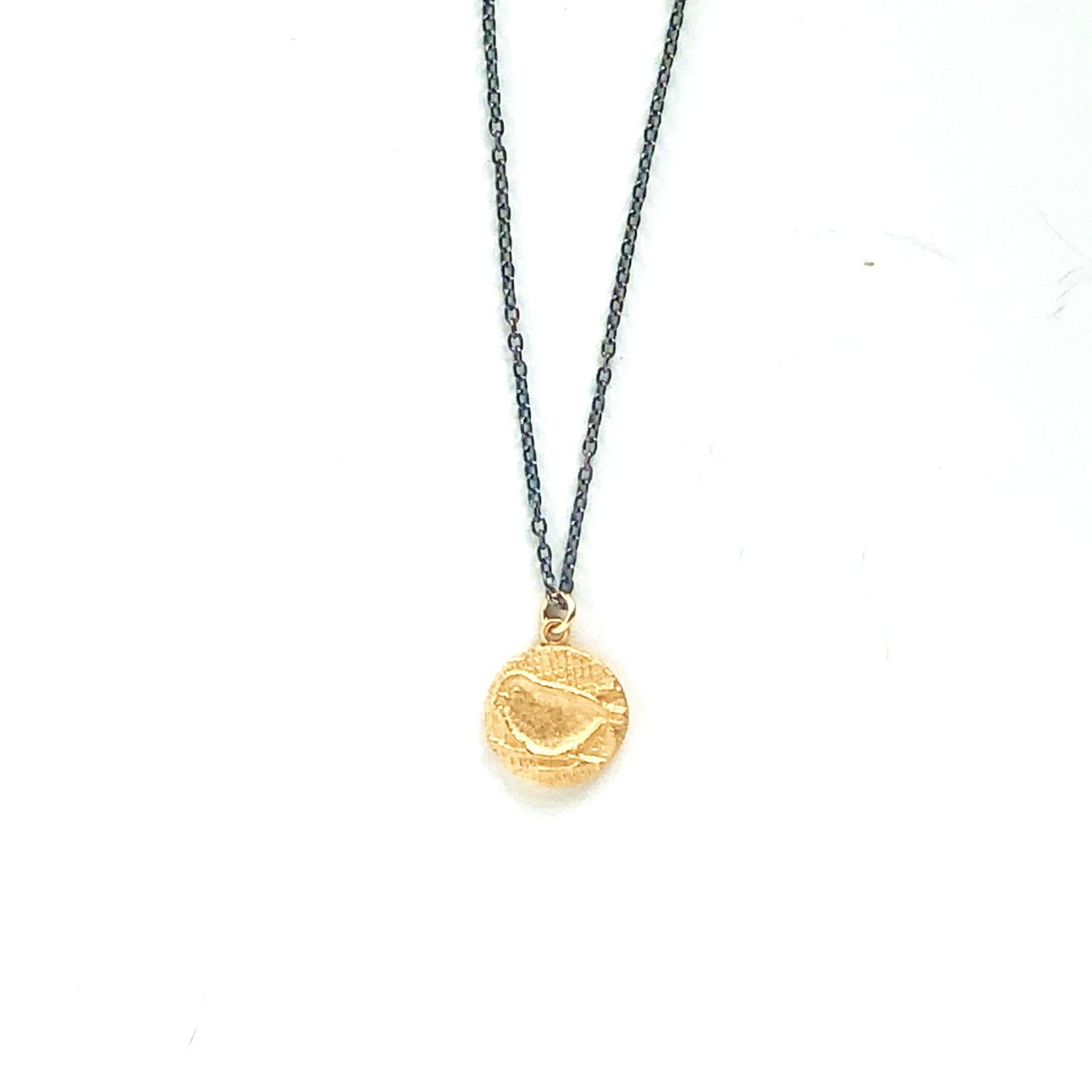 Bird Charm Necklace Gold