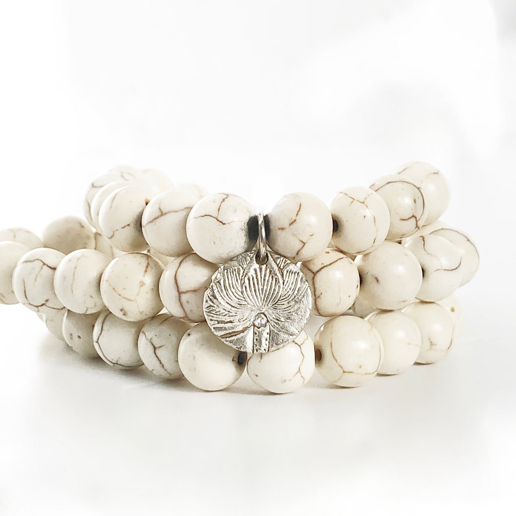Cream-Marbled-Agate-Beaded-Bracelet-Set-of-3-Silver.