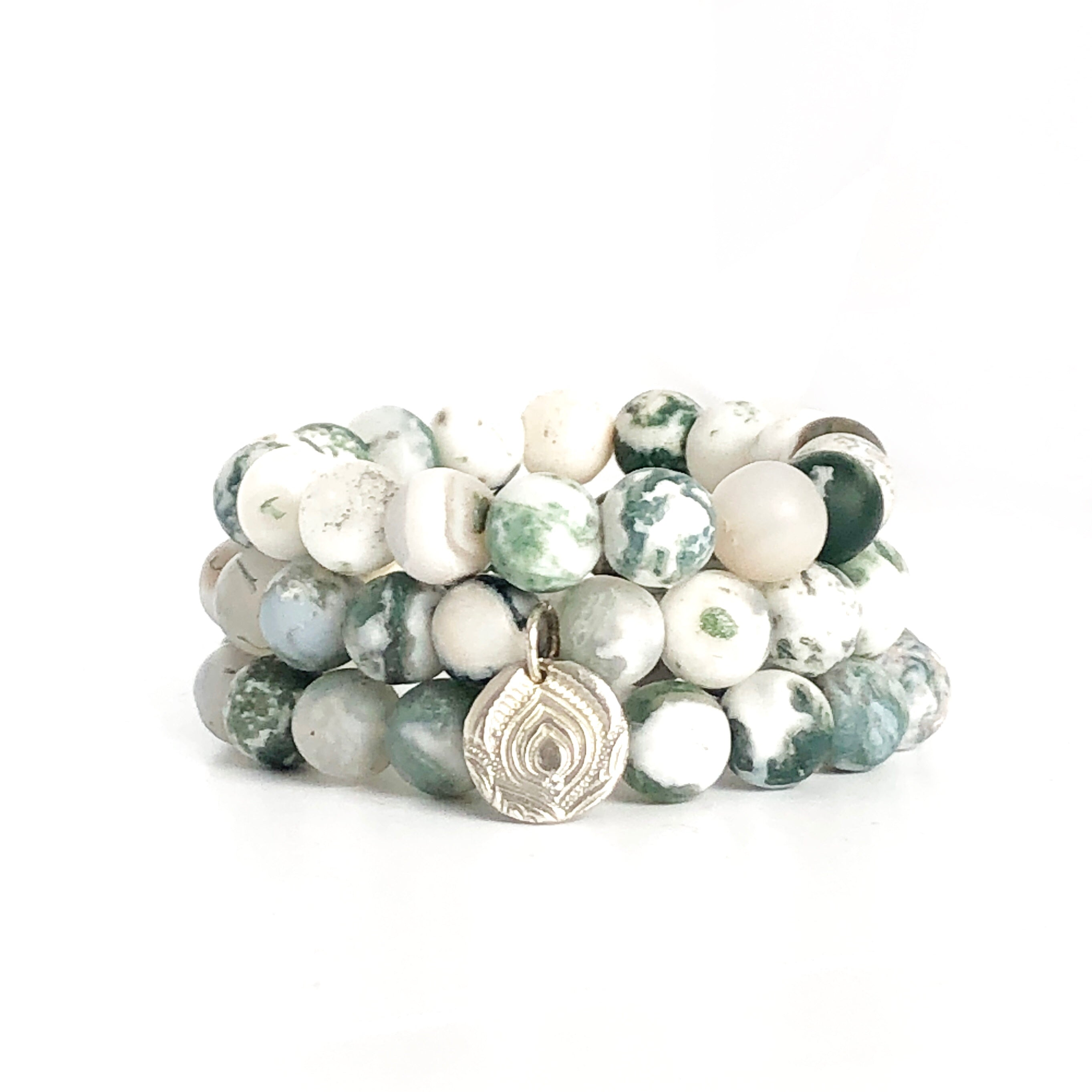 Green Tree Agate Beaded Bracelets, Set of 3 with Charm Silver