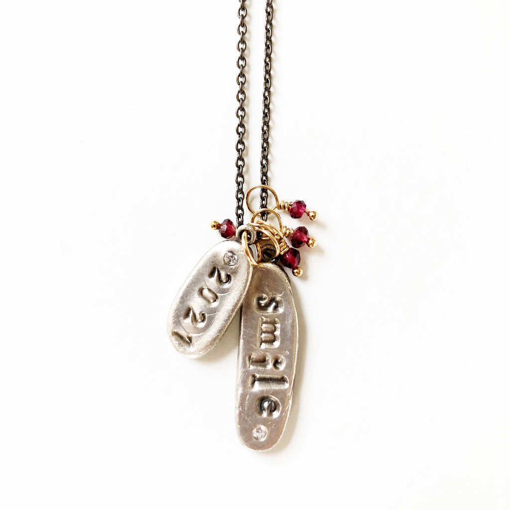 Long Word Charm Necklace Silver