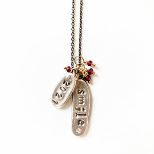 Custom Word Long Charm Necklace Silver