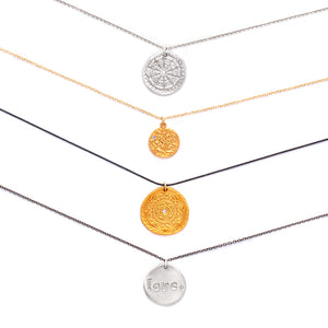 Moon Face Charm Necklace Gold