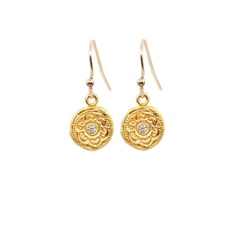 Circles of Life Hanging Earrings Gold - MAS Designs