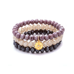 Crystal Beaded Bracelets, Set of 3 Charm Gold - MAS Designs