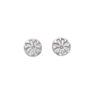 Daisy Diamond Stud Earrings Silver - MAS Designs