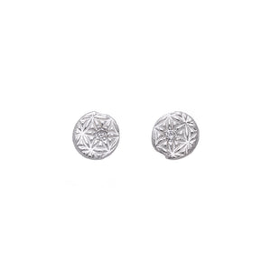 Flower of Life Diamond Stud Earrings Silver - MAS Designs
