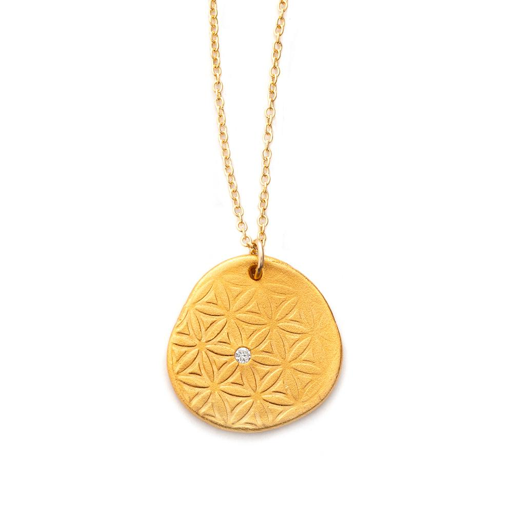 Flower of Life Charm Necklace Gold